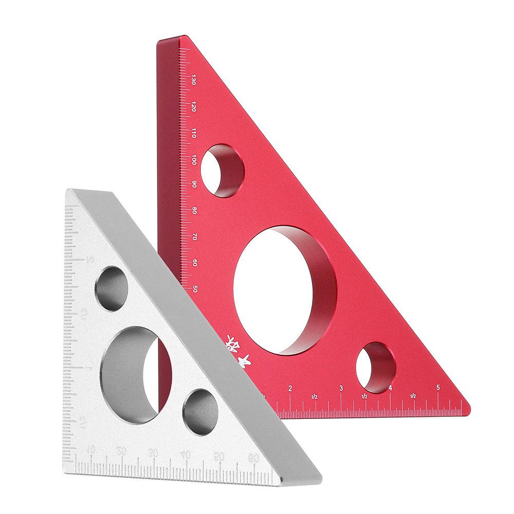 90 Degrees Aluminum Alloy Height Ruler Metric Inch Woodworking Triangular Ruler