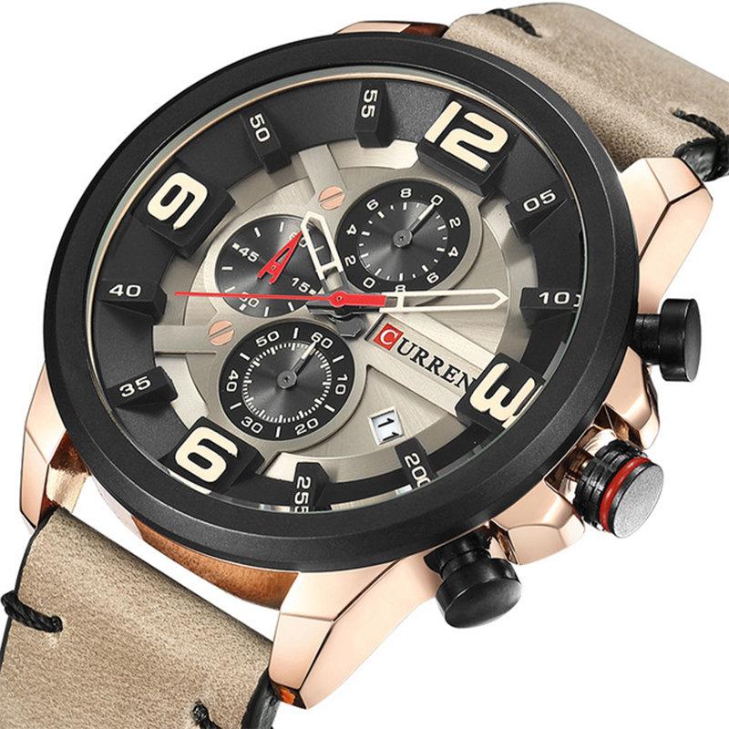 CURREN Quartz Leather Watches Chronograph Calendar 30M Waterproof Mens Watches