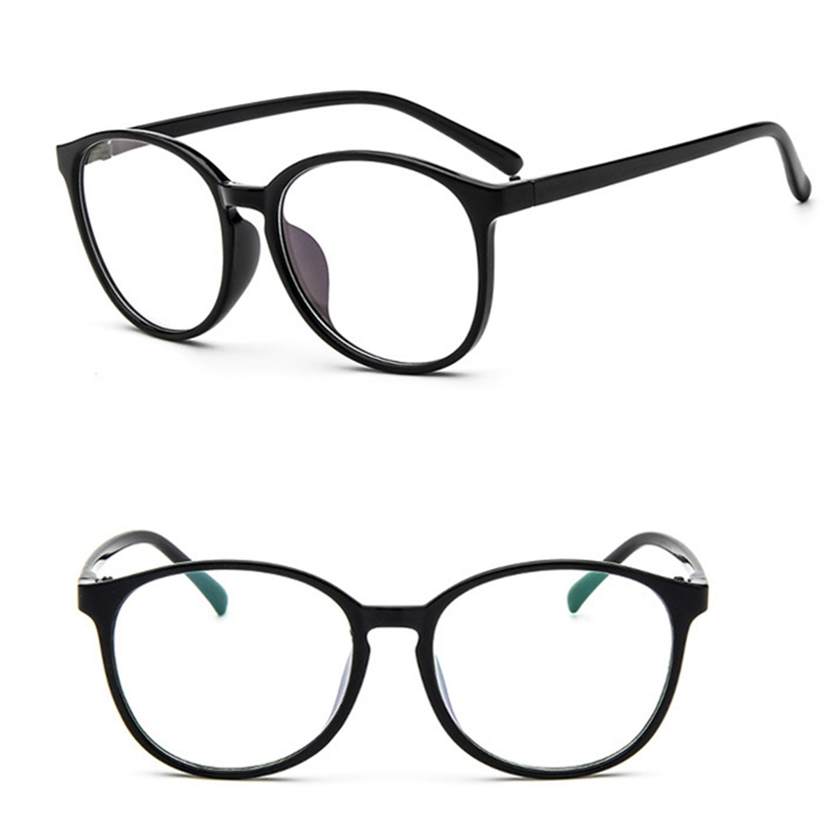 Men Women Eyeglasses Clear Plain Lens Large Oval Plastic Frame Glasses