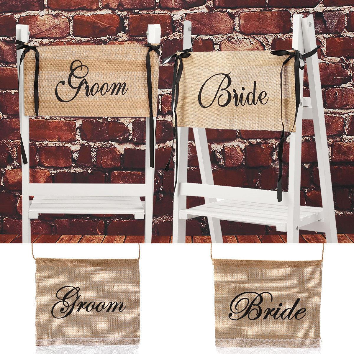 Bride Groom Wedding Chair Bunting Hessian Burlap Banner Party Decoration