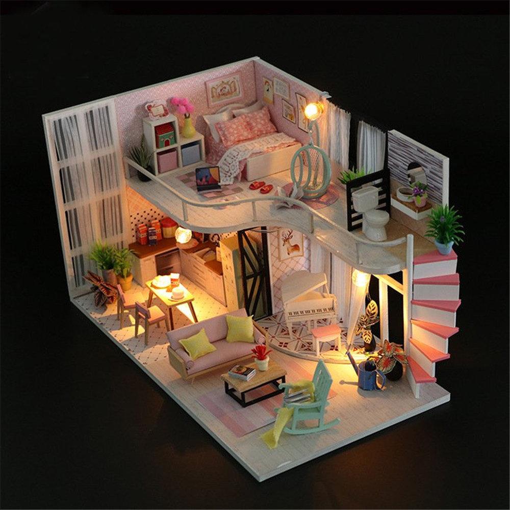 Casa de muñecas en miniatura de madera DIY concisa casa de muñecas con cubierta de polvo