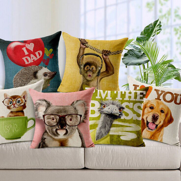 Cute Cartoon Animals Koala Dog Orangutan Throw Pillow Case Sofa Car Office Cushion Cover