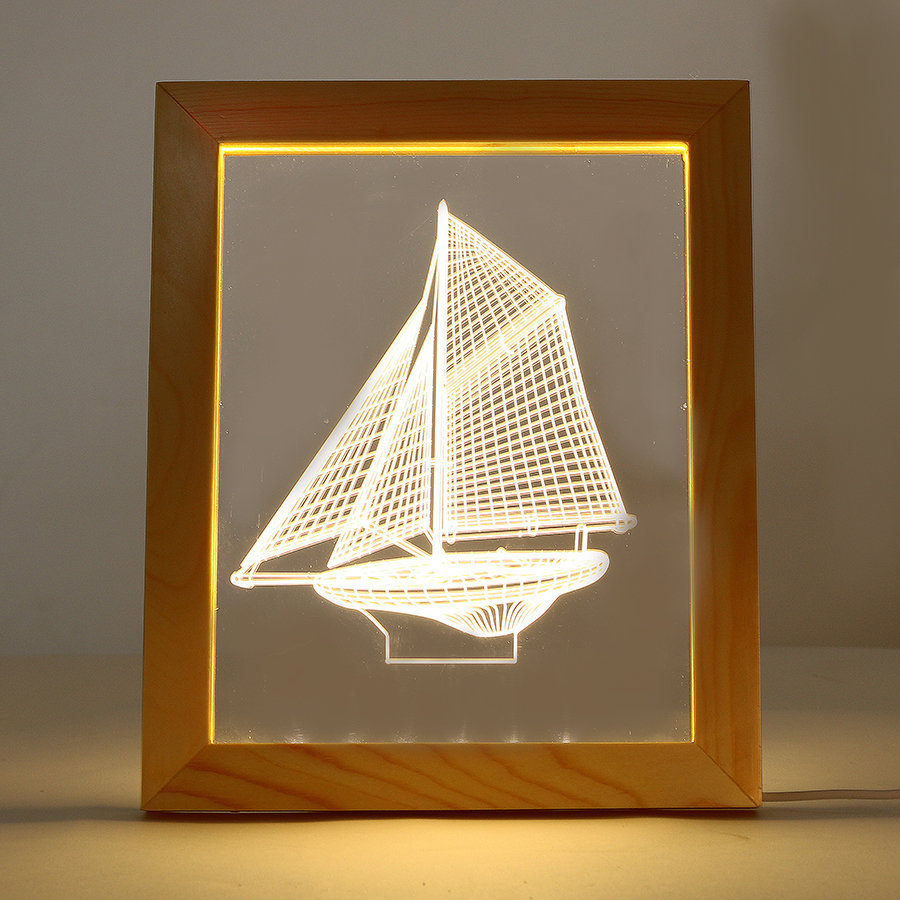 Kcasa FL-702 Photo Frame Illuminative LED Night Light Wooden Sailboat Desktop Decorative USB Lamp