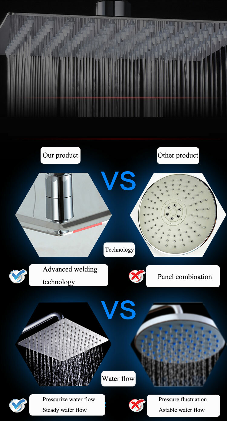 8 Inch Stainless Steel Bathroom Square Silver Pressurize Rainfall Shower Head Chrome Finish