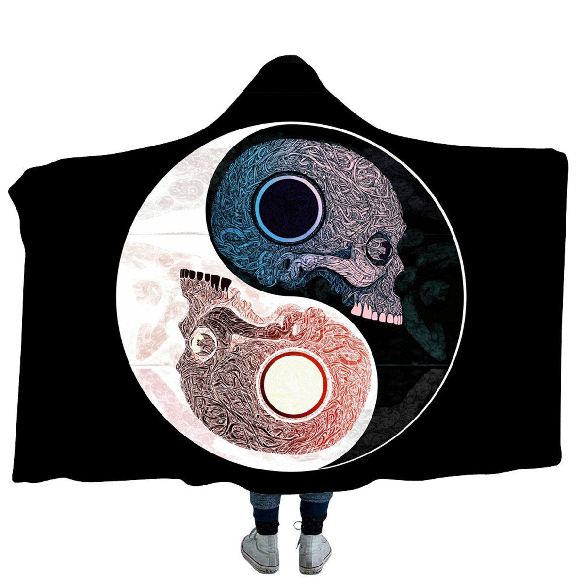 Yin and Yang Bejirog Hooded Blankets Cloak Warm Wearable Plush Thick Nap Soft Mat