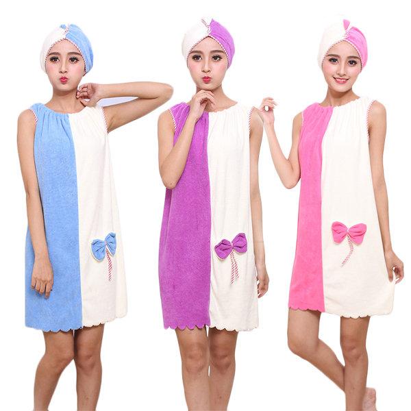 Flannel Soft Absorbent Skirts Salon Bathrobe Women SPA Bath Towel With Hair Dry Cap