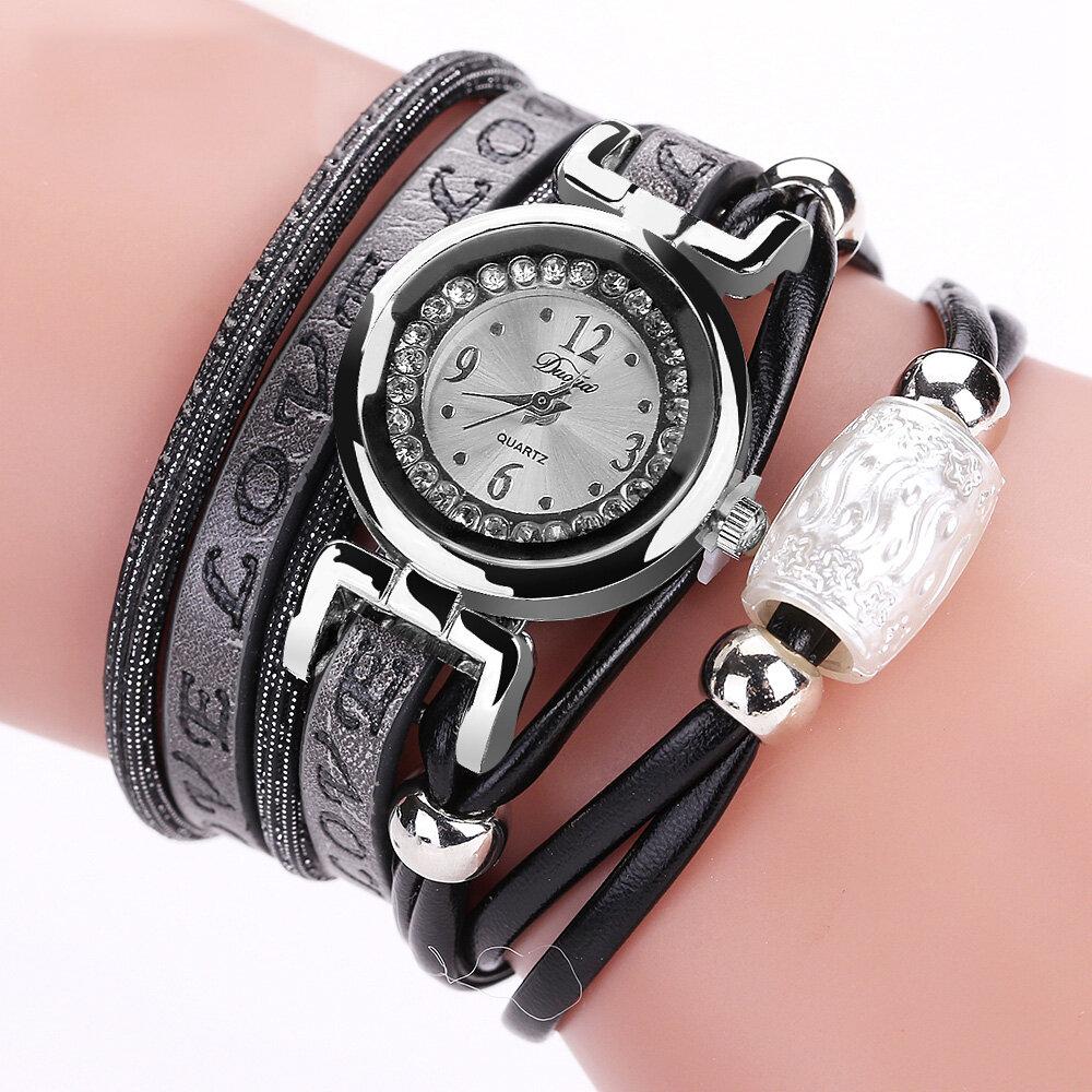 Montre à bracelet en cuir de quartz électronique de montre de mode de luxe des femmes