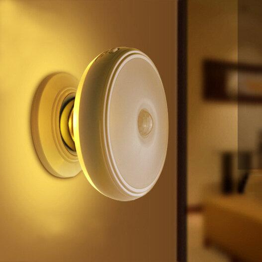 لوسيكي DX-004 360 درجة دوران جسم الإنسان الاستشعار الصمام ليلة الخفيفة حامل المغناطيسي USB مصباح القابلة لإعادة الشحن