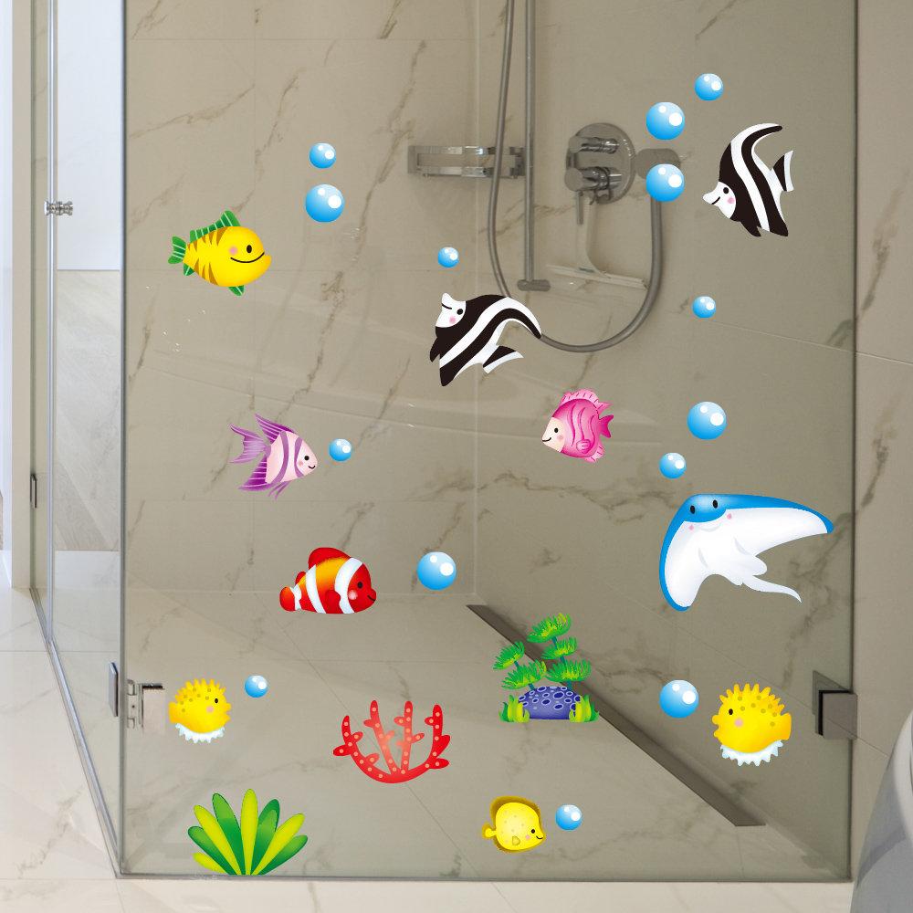 Tropische Karikatur-Fische See-Luftblasen-Ozean-Welt entfernbare Wand-Badezimmer-Aufkleber-Glas-Pasten-Dekor