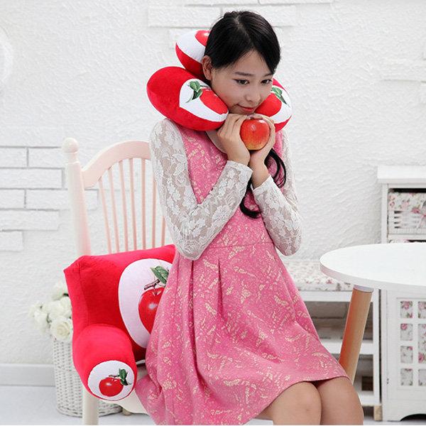 उम्दा 3 डी फल मुद्रण यू आकार गर्दन तकिया कमर पीठ तकिया सोफा कार्यालय कार कुर्सी सजावट