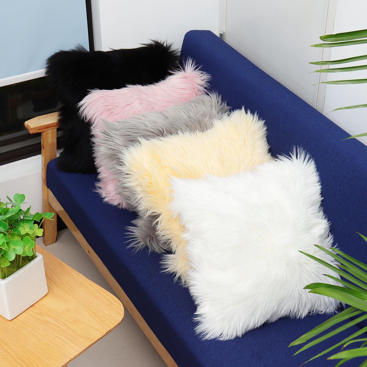 40x40のどのウールの毛皮のクッションカバーふわふわの柔らかいプラシ天の投げる枕ケースの家の装飾