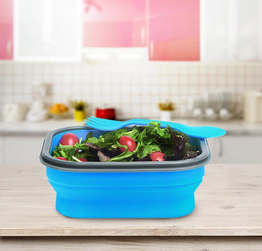 Складной контейнер еды Бенто обеда Силиконовый БПА Коробка БПА свободно складной с Таблеваре