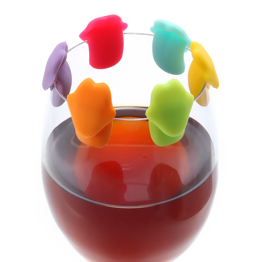 KCASA KC-GC12 6Pcs Silicone Dolphin Tongue Wine Charm Wine Glasses Cocktail Drink Maker Bar Tools