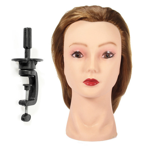 17 Inch Gold Hair Training Head Cutting Hairdressing Practice Mannequin With Clamp Holder