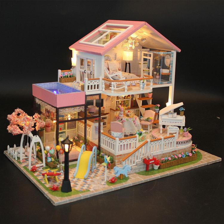 Hoomeda スウィートワールドDIYハウス with Furniture音楽ライトカバーカーミニチュアモデルギフト装飾