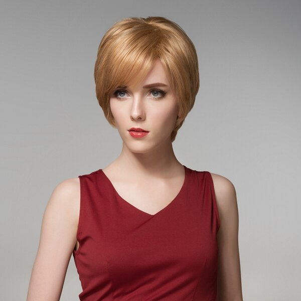 12 Colors Short Straight Side Bang Human Hair Wig Virgin Remy Mono Top Capless