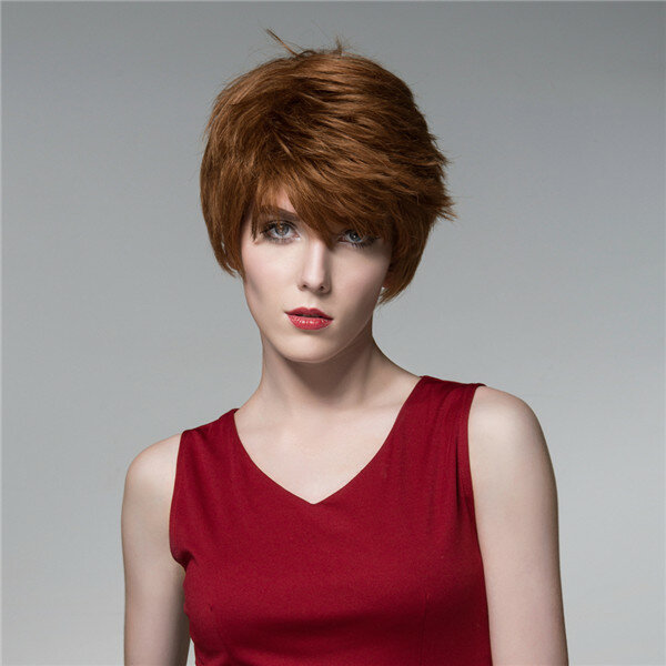 Straight Short Human Hair Wigs Cool Side Bang Virgin Remy Mono Top Capless 14 Colors