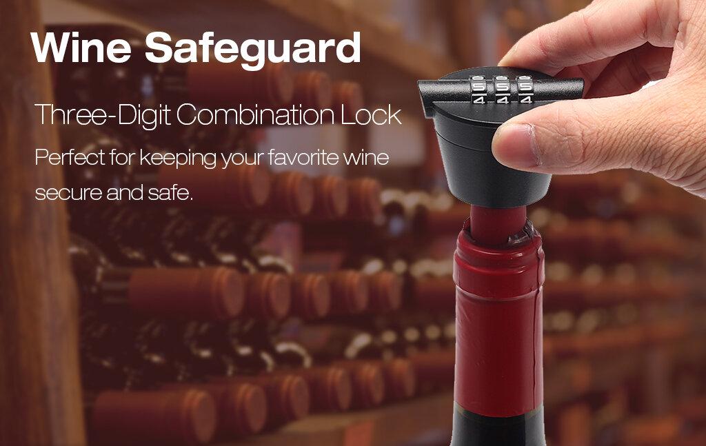 KCASA SP004 Wine Stopper with Password Combination Lock Creative Wine Bottle