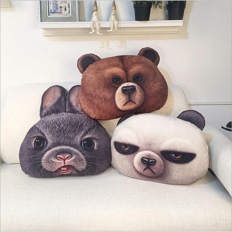 49x34cm Creative PP Cotton 3D Bear Rabbit Cushion Animal Head Pillow Birthday Gift Trick Toys