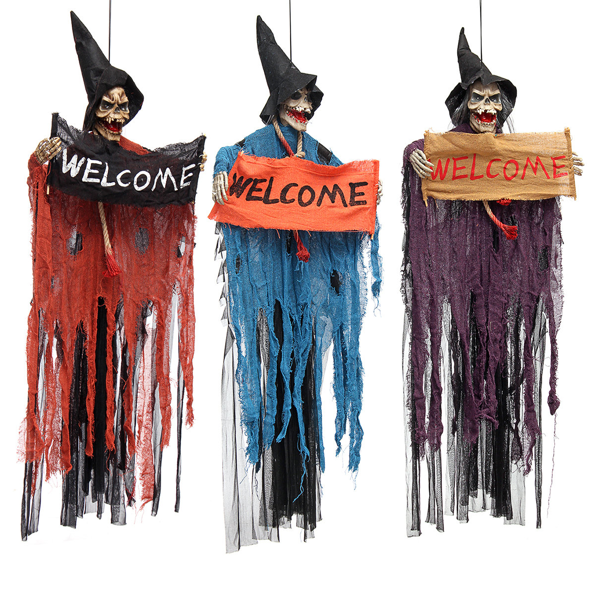 Halloween Tools Scary Welcome Sign Hanging Skeleton Voice Lights Eyes for Hallowen Decorations