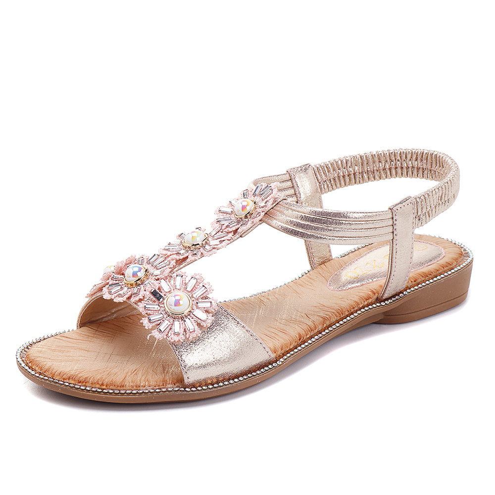 Bohemia Flowers T Strap Casual Flat Sandals