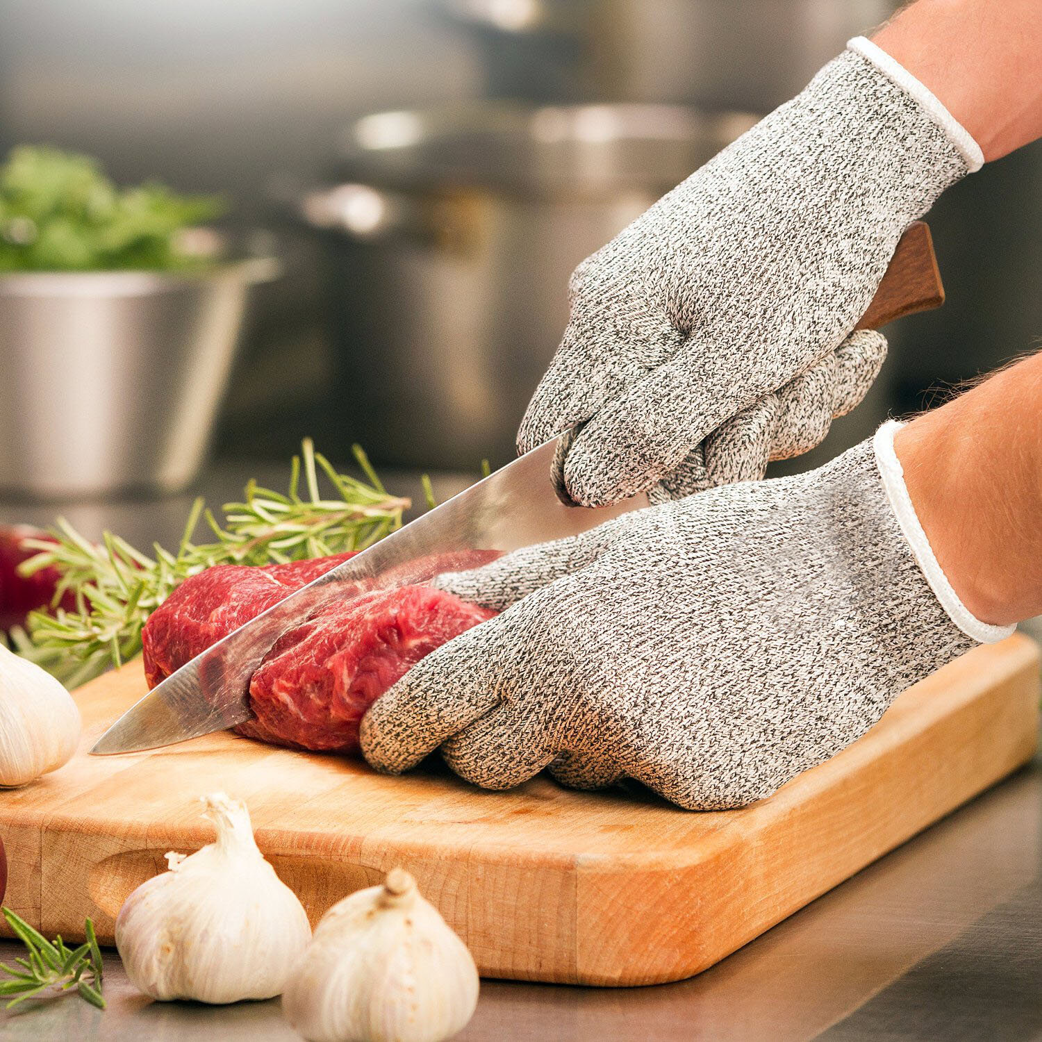 KCASA KC-CG01 1 Pair HPPE High Performance Level 5 Protection Food Grade Cut Resistant Gloves