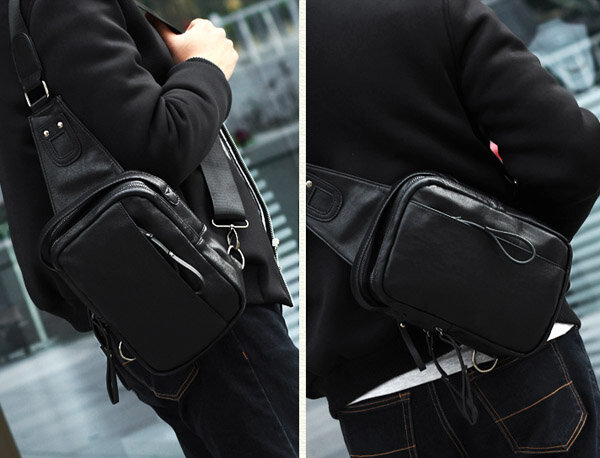 Men Bag, PU Casual Zipper, Small Black Brown, Blue Crossbody Bag, Shoulder Chest Bag