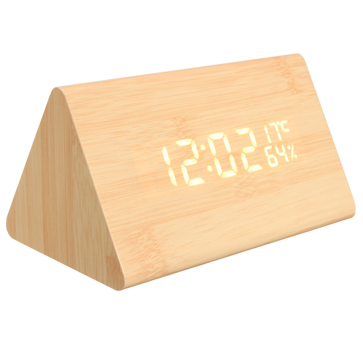 USB Voice Control Wooden Triangle Temperature LED Digital Alarm Clock Humidity Thermometer