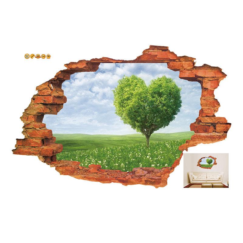 MIICO Creative 3D Love Tree Scenery Broken Wall Removable Home Room Decorative Wall Decor Sticker