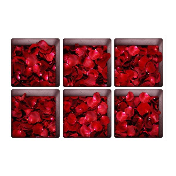 6 पीसी 13x13 सेमी गुलाब पत्ता पैटर्न 3 डी विरोधी पर्ची निविड़ अंधकार बाथटब स्टीकर