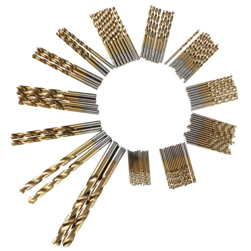 99pcs 1.5 मिमी - 10 मिमी टाइटेनियम लेपित हाई स्पीड स्टील ड्रिल बिट सेट मैनुअल ट्विस्ट ड्रिल बिट्स