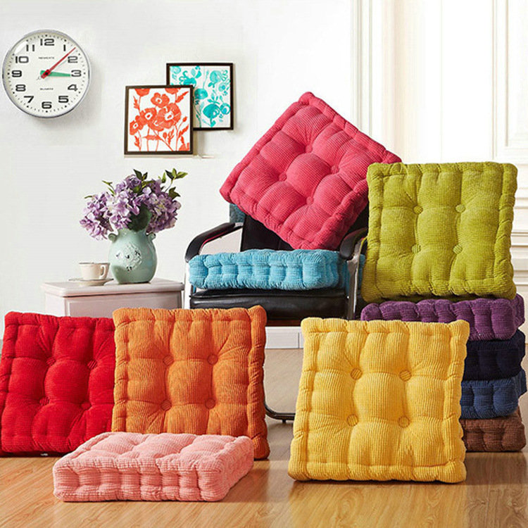 40/45/50cm Washable Corduroy Tatami Floor Seat Cushion Square Plaid Winter Warm Chair Pad Cushion