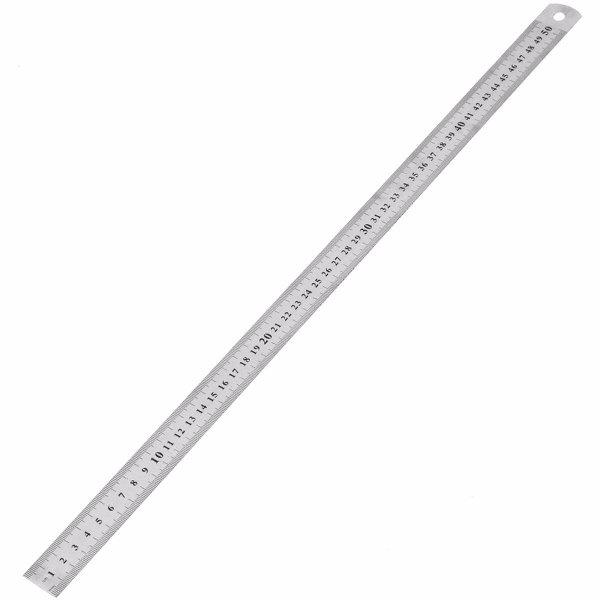Outil de mesure de règle droite à échelle double en acier inoxydable de 50 cm