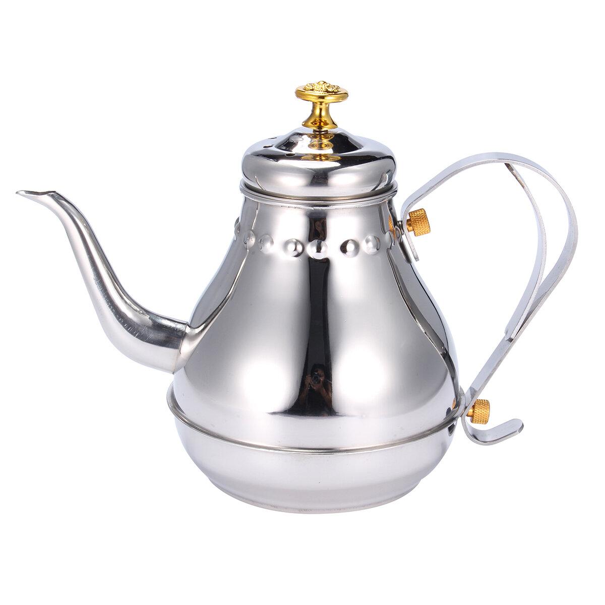 Чайники Чай капельного кофе из нержавеющей стали серебряной емкости 1.2Л Бак Чайхаус