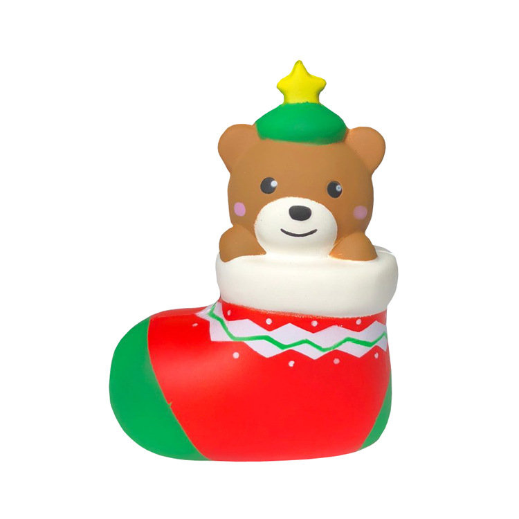 Christmas Footwear Bear Squishy Cute Decoration With Packaging