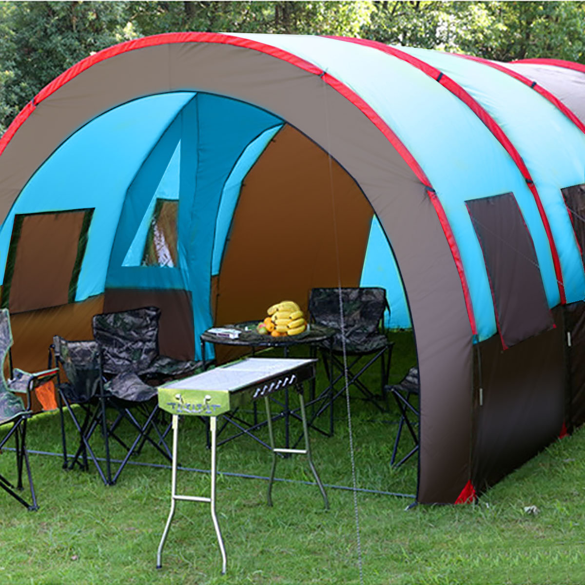 XD-ET4 8-10 People Camping Tent Waterproof Tunnel Double Layer Large Family Canopy Sunshade