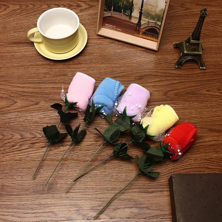 20x20 सेमी Mircrofibre गुलाब के फूल पानी अवशोषण तौलिया त्योहार वेलेंटाइन जन्मदिन शादी के तोहफे