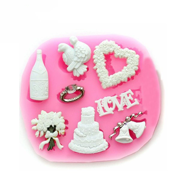 F0633 Silicone Christmas Love Heart Cake Mould Soap chocolate Mould