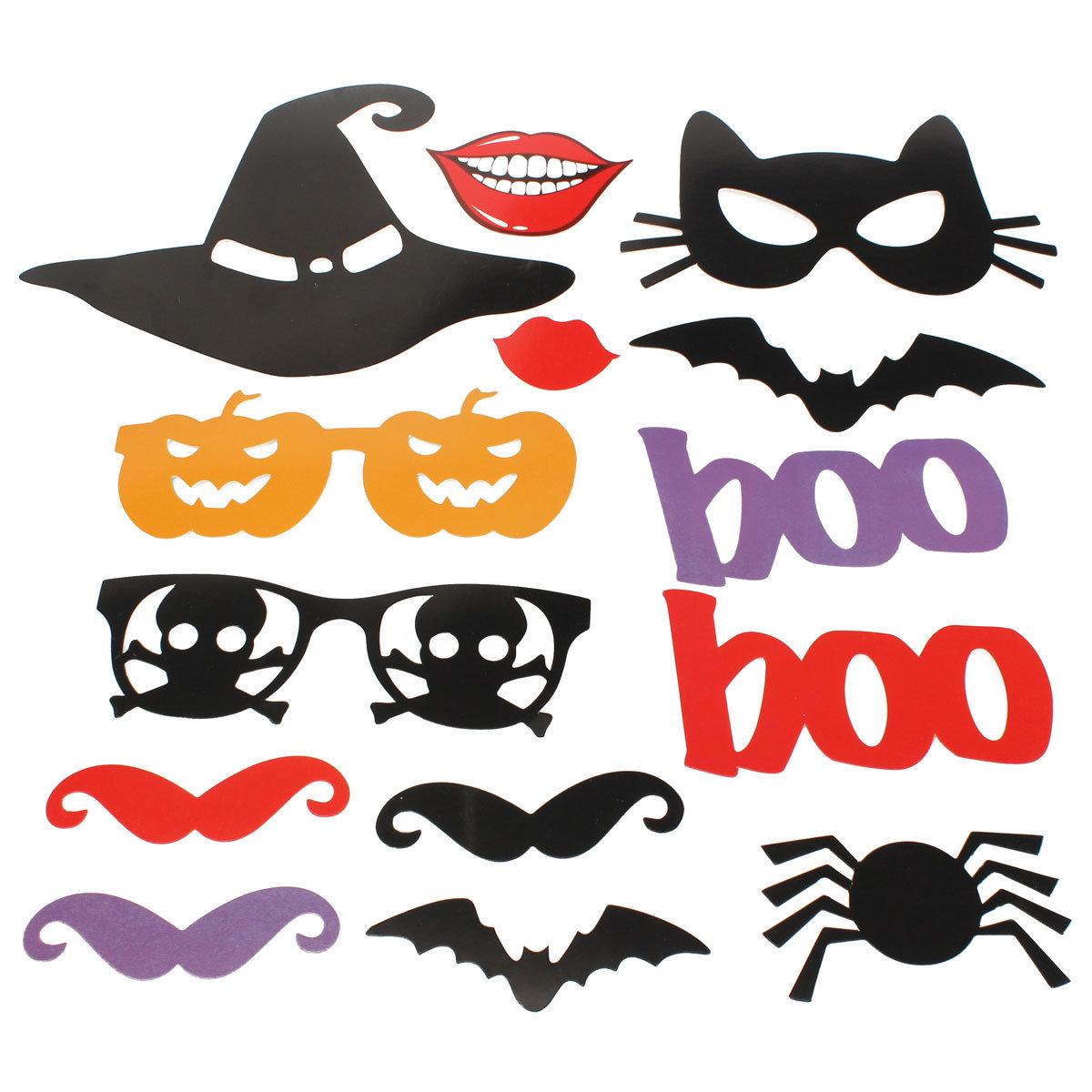 14PCS DIY Halloween Pumpkin Lips Photo Booth Props Mask Mustache Wedding Party Supplies