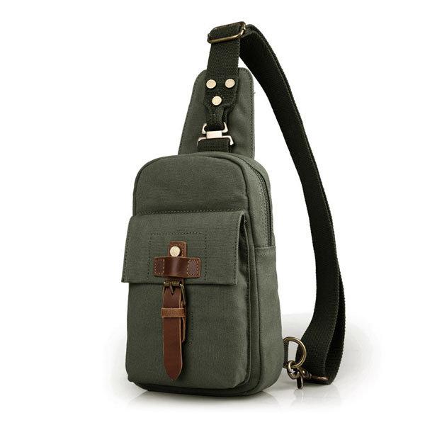 Men Bag, Canvas Casual Outdoor, Black Army Green, Sport Crossbody Chest Bag