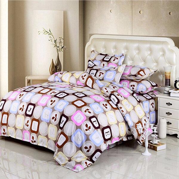 3 या 4 पीसी पत्र शब्द कपास मिश्रण पेंट मुद्रण बिस्तर सेट रजाई कवर एकल जुड़वां रानी आकार