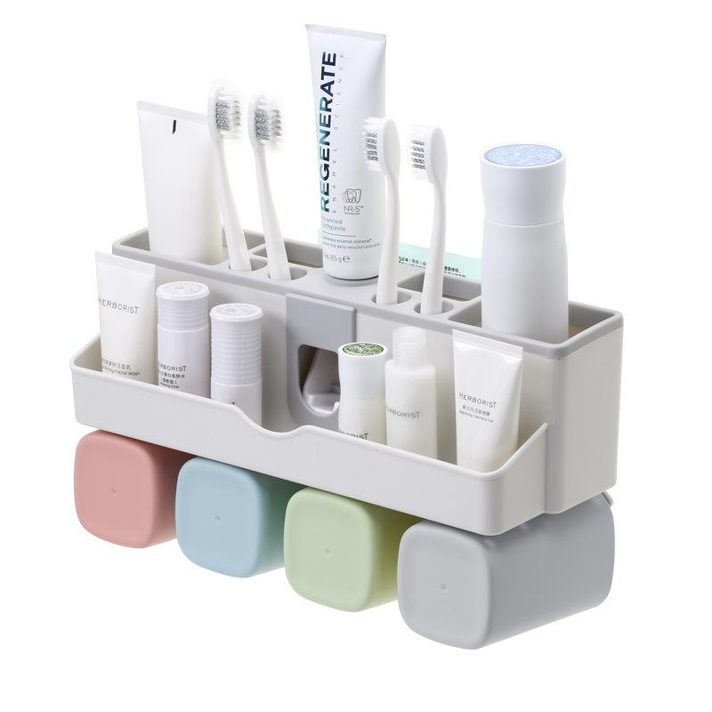 Wall-Mounted Toothbrush Toothpaste Rack Strong Seamless Cleaning Supplies Storage Box