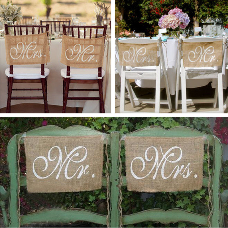 Newchic coupon: 1 Pair Mr Mrs Wedding Chair Bunting Hessian Jute Burlap Banner Party Decoration