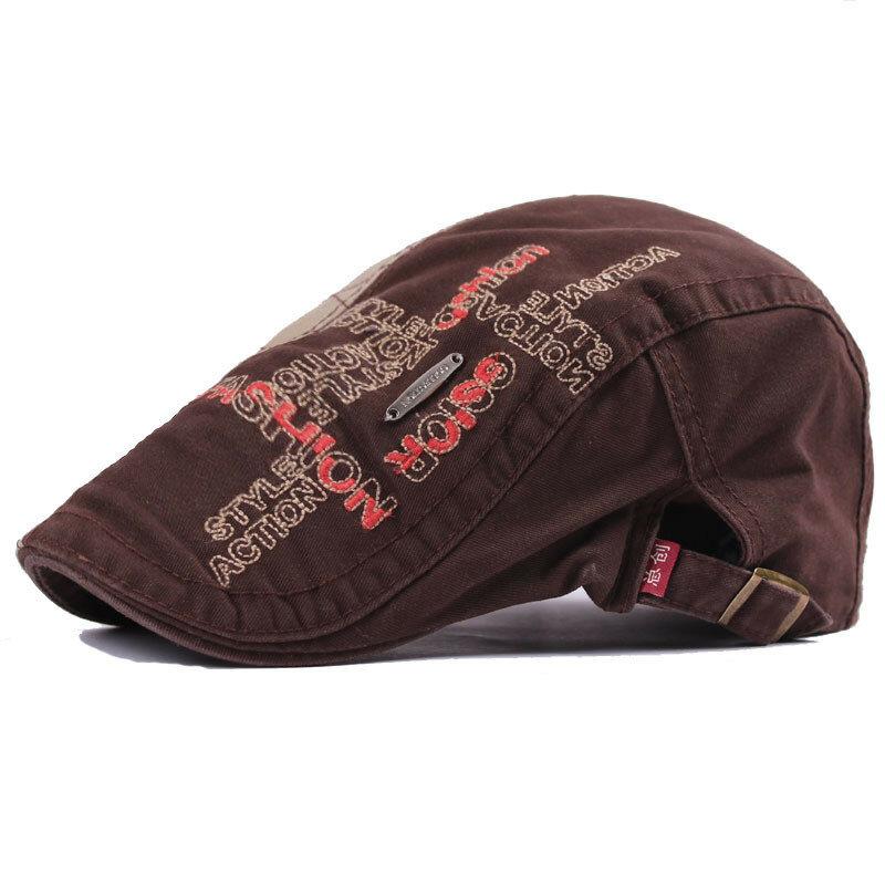 Men Women Cotton Embroidery Washed Newsboy Beret Hat Duckbill Golf Flat Buckle Cabbie Cap