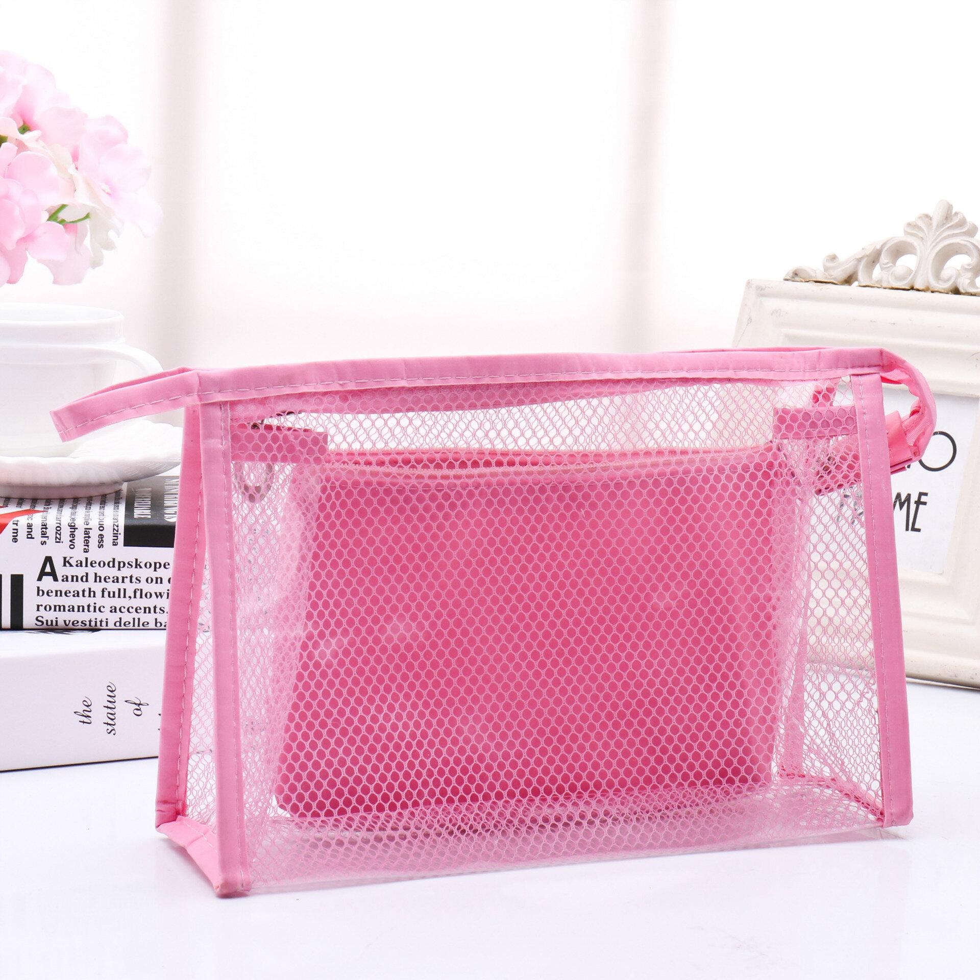 Honana BX-112 Wasserdichte PVC Kosmetiktaschen Zweiteilige Anzug Net Travel Makeup Transparente Tasche