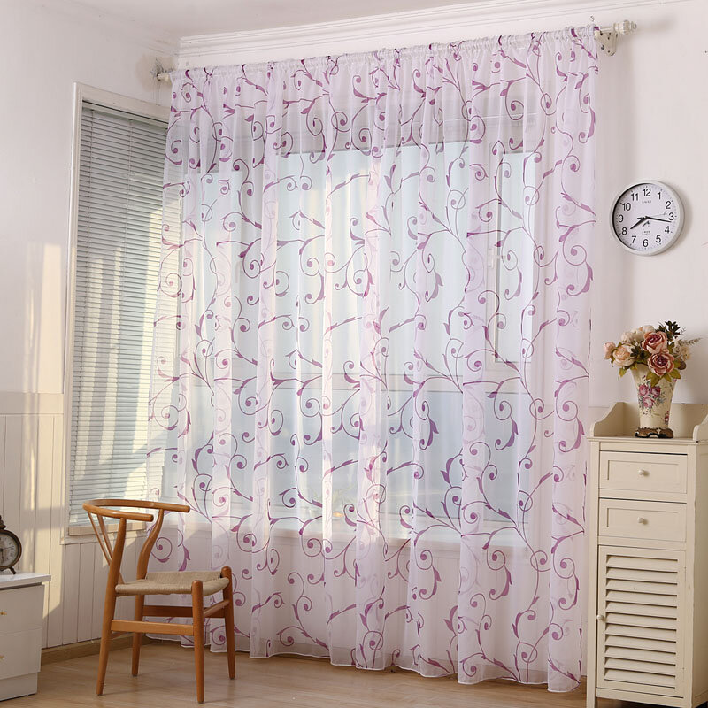 Home Decoration Curtains Window Sheer Drapes Tulle Curtain For Living Room Bedroom
