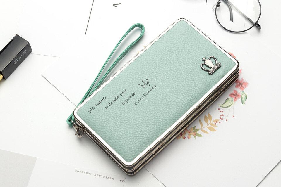 Universal 5.5-inch Women Phone PU Long Wallet Purse Handbag For Xiaomi Huawei Samsung iPhone 7