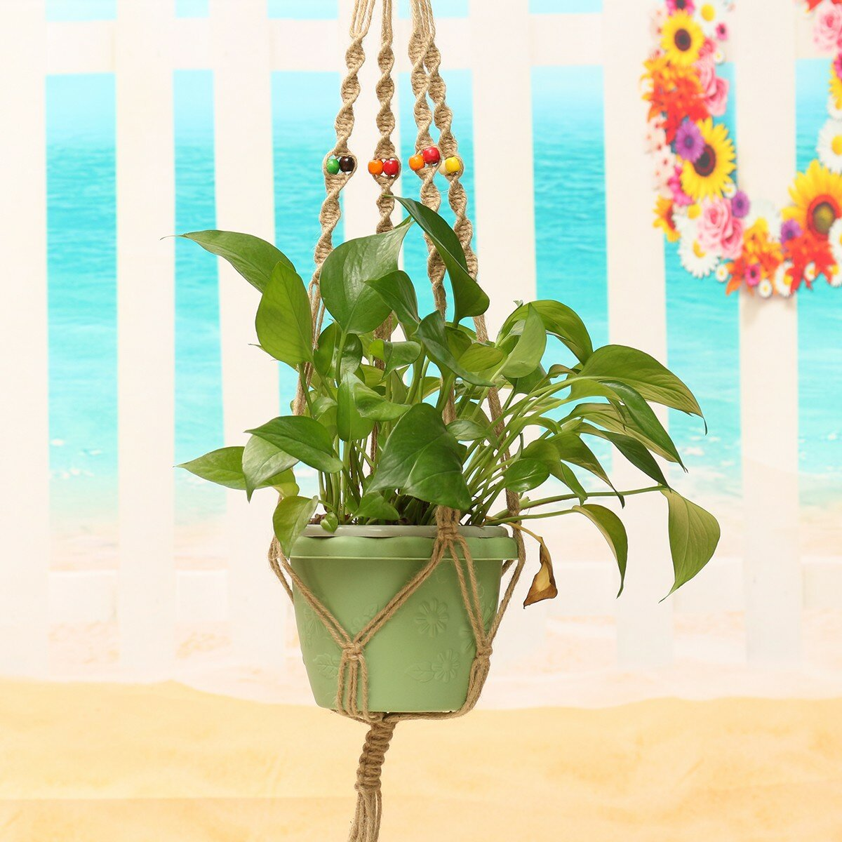 42 Inch Flowerpot Plant Hanger Macrame Jute Rope Indoor Outdoor Garden Decorative Cord with Hook