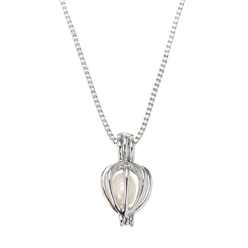 Retro Pearl Necklace Hollow Openable Lantern Pendant Chain Jewelry for Men Women