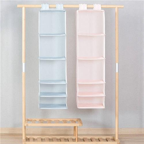Home 5 Layers Hanging Closet Organizer Household Hanging Foldable Storage Bag